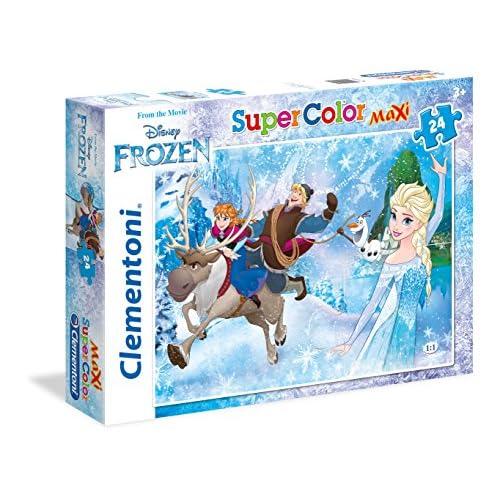 Clementoni- Frozen Supercolor Puzzle, 24 Pezzi, 24482