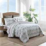 Tommy Bahama   Distressed Palm Collection   100% Cotton Soft and Breathable Reversible Comforter, All Season 3-Piece Bedding Set, Pre-Washed for Added Softness, Queen, Green