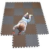 MQIAOHAM Esterilla Puzzle de Fitness-18 losas de EVA Espuma Alfombrilla Protección para el Suelo para máquinas de Deporte y gimnasios sobre el Piso Fácil de Limpiar Marrón Gris 106112