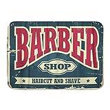 ZELXXXDA Alfombrillas para baño, Barba Barbero Hipster Corte de Pelo y Afeitado Vintage Barbería Retro Antiguo Clásico,con Respaldo Antideslizante,29.5'X17.5'
