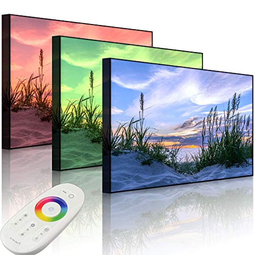 Lightbox-Multicolor | LED Bild Leuchtbild | Gras am Strand bei Sonnenuntergang | 100x70 cm | Front Lighted