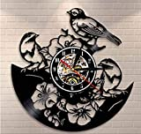 WJBKY Tropical Peel and Stick Nature Wall Art Flowers Birds Wall Clock Birds In Tree Vinyl Record Clock Songbirds Sparrows Reloj De Pared