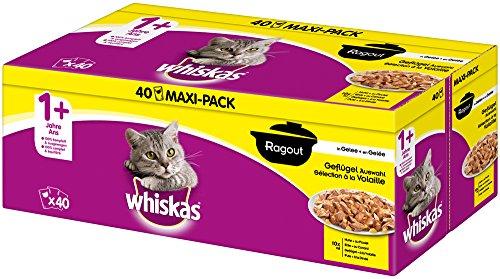 whiskas - Alimento húmedo para Gatos Adultos, envase múltiple, selección de estofado de Aves en gelatina, 40 Bolsas, de 85 g Cada una
