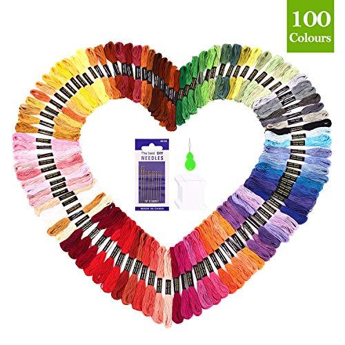 SOLEDI Stickgarn Embroidery Floss Multifarben Weicher Polyester Perfekt für Freundschaftsbänder Kit Stickerei Basteln Leisure Arts Kreuzstich Embroidery Threads Nähgarne Häkeln 8m (100 Farben)