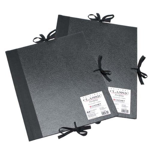 Daler-Rowney Cachet Classic Portfolio, Hard Cover with Cloth Ties, 23 x 31 inches, Black (471302331)