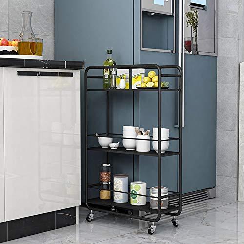 Carro con 3 niveles, carrito de almacenamiento, estantería de la cocina con ruedas, carrito versátil, fácil de montar, para cuarto de baño, cocina, oficina, color negro