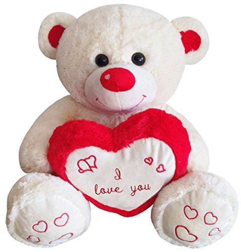 TE-Trend Teddy Bear XXL Teddybär Benny Riesen Kuscheltier Herz Herzkissen I Love You Stofftier 80cm Beige