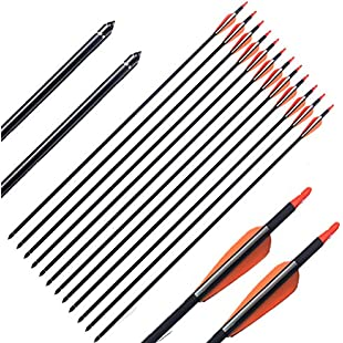 FlyArchery 12PK 30-Inch Archery Carbon Target Arrows 7.6mm Shaft Removable Field Point for Recurve & Compound Bow Orange White