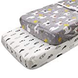 ALVABABY Changing Pad Covers 2 Pack 100% Organic Cotton Soft and Light Baby Cradle Mattress for Boys and Girls 2TWCZ05