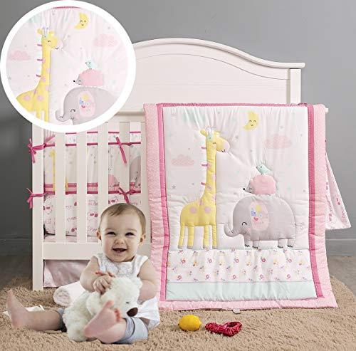 Brandream Woodland Crib Bedding Set Pink Gray Baby Nursery with Elephant Giraffe Collection 7 Piece