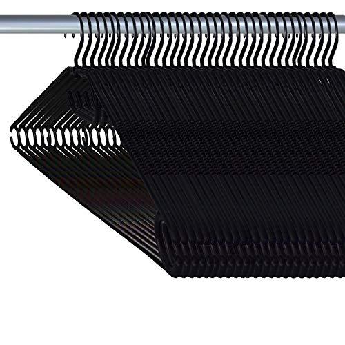 Tigra Siluk_ Kleiderbügel Wäschebügel Kunststoff drehbar Wäschebügel aus Kunststoff - Made in UE (50, Schwarz)