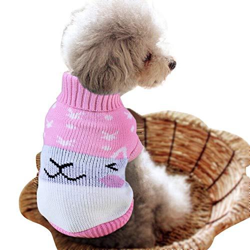 ZCY 4 Winter Kleuren Huisdier Kleding Warm Zacht Breien Huisdier Hond Vest Sweater Kleine Medium Katten Patroon Klassiek, 16, Roze Konijn