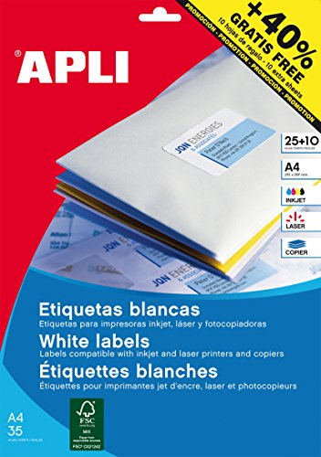 APLI 13883 - Etiquetas blancas permanentes Ø 40,0 mm 25 hojas