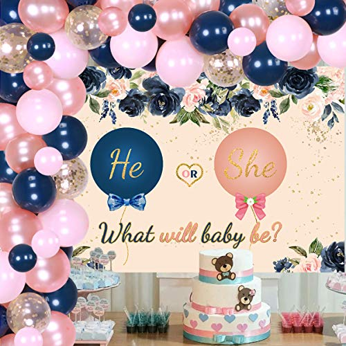 Jollyboom Navy Blush Balloon Garland Arch Kit Navy Blush Gender Reveal Party Backdrop Supplies with Navy Blue Pink Rose Gold Confetti Latex Balloons for Baby Shower Gender Reveal Party Decorations