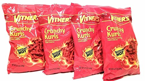 Vitners Flaming Hot And Cheesy Crunchy Curls.4 Pack Big 8.75 oz Bags.