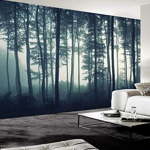 3D vliesbehang personaliseerbaar fotobehang 3D-dichte mist boom muurschildering woonkamer tv slaapkamer muurschildering natuur landschap behang 400 x 280 cm.