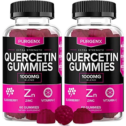 Quercetin Zinc Gummies Supplements 1000mg with Vitamin C and Elderberry for Kids Adults Immunity, Immune Support Gummy Booster Vegan Chewable Vitamins - Best Alt to Powder, Liquid Drops Pills (2 Pack)