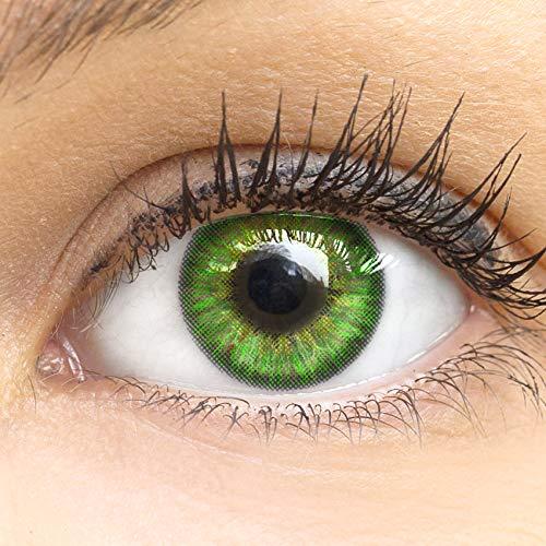 Grüne Farbige Kontaktlinsen Fresh Mint Grün Sehr Stark Deckende SILIKON COMFORT NEUHEIT von GLAMLENS + Behälter - 1 Paar (2 Stück) - DIA 14.50 - Mit Stärke -2.50 Dioptrien