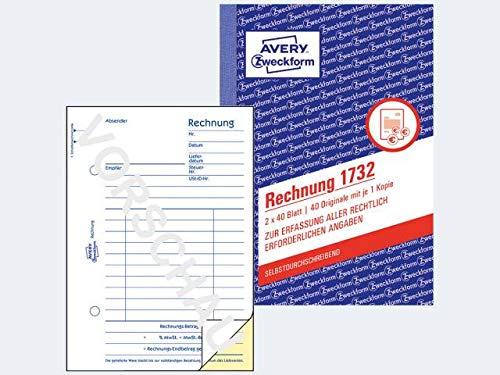 Avery Zweckform© 1732 Rechnung, DIN A6, selbstdurchschreibend, 2 x 40 Blatt, weiá, gelb