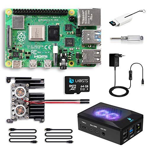 LABISTS Raspberry Pi 4 8Go, Raspberry Pi 4 Modèle B 8 Go Kit avec 64 Go Carte Micro SD Classe 10, Premium Boîtier Noir, Dissipateur Module en Métal, 2 Ventilateurs, 5,1V 3A Alimentation Interrupteur