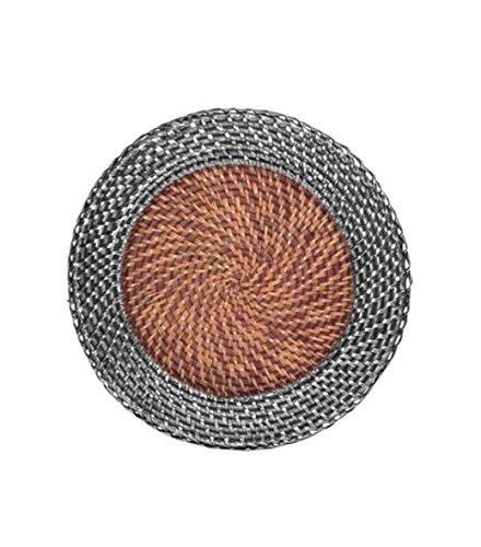 Platzteller aus natürlichem Rattan mit Silberbeschichtung