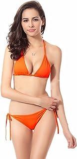 Bestgift Women's Solid Color Halter Neck Tie Side Swimwear Triangle Bikinis Set