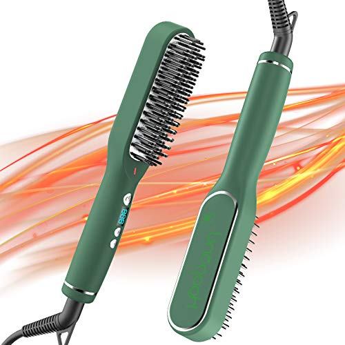 Professional Hair Straightener Brush with 5 Heat Level Anti-Scald 30s Ceramic Heating Portable Hot-air Brush Comb Auto Off Function for Hair Dryer Straighten Styling in Home Travel(Green)