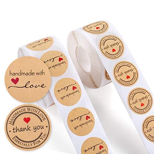 Haosell 1000 Stück Kraft Selbstgemacht mit Liebe Aufkleber Label Papier Abdichtung Aufkleber Etiketten Rund Selbstklebend Geschenkaufkleber Geschenksticker Homemade with Love Aufkleber