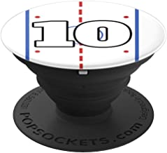 Hockey Player Custom Jersey Number Ten 10 Gift Ice Hockey - PopSockets Grip and Stand for Phones and Tablets
