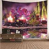 Kihomedy Zen Theme Candle Flower And Bambú Tapiz de pared para exterior multicolor Tapiz para...