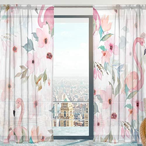 Mnsruu - Cortina de Gasa con Flamenco Transparente para Ventana de salón, 140 x 198 cm, 2 Paneles