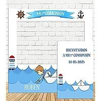 Photocall y Cartel Comunión niño Marinero 100x100cm| Divertido y económico|Detalle de comunión| Hazte Unas Fotos Divertidas en el comunión de tu Hijo| Personalizable