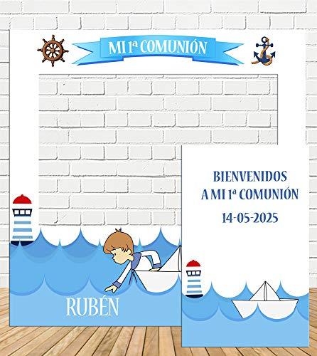 Photocall y Cartel Comunión niño Marinero 100x100cm|