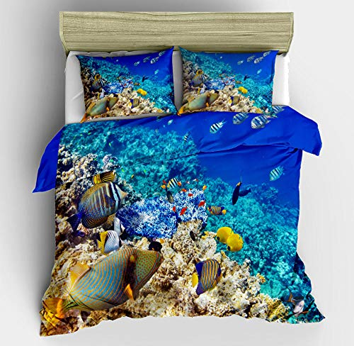 N/S King bed Duvet Covers Set Coral Reef Brushed Microfiber Bedding Set Bed Duvet Cover with Pillowcases-For Adult Children's Bedroom 86.61 x 90.55 inch