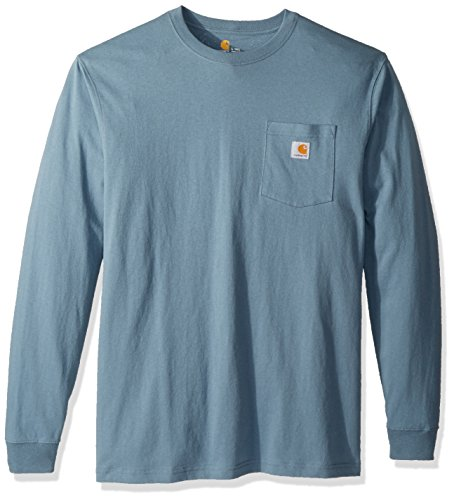 Carhartt Men's Workwear Jersey Pocket Long-Sleeve Shirt K126 (Regular and Big & Tall Sizes), Steel Blue, 2X-Large