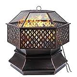 GARTIO 26''/28''/30'' Steel Fire Pit, Hex-Shaped Wood Burning Bonfire Firebowl, Outdoor Metal Fireplace with Mesh Screen Cover, Poker, for Patio, Backyard, Garden, Beach, Camping, Picnic