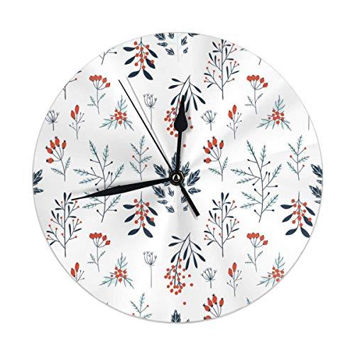 gardenia store Reloj de pared de Navidad de invierno de 9.84 pulgadas redondo reloj silencioso decoración de la cocina del hogar decoración de la batería