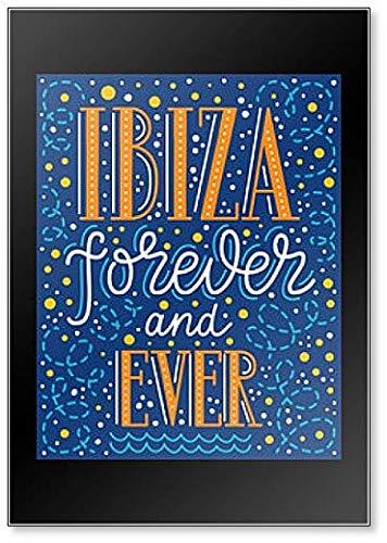 Ibiza Forever and Ever Phrase Inscripción con remolino, burbujas Illustration imán para nevera