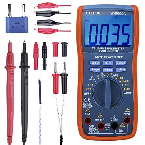 ETEPON Multímetro Digital, 6000 Cuentas para Mide Voltaje, Corriente, Resistencia, Continuidad, Frecuencia, Capacitancia, Temperatura, Diodos de Prueba, Transistores (WH5000A)