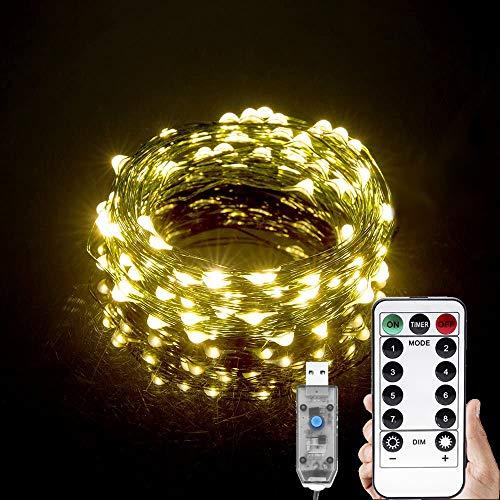 Led Lichterkette Weihnachtsbaum, 20m 200 Micro Led Lichterkette für Tannenbaum, Weihnachten Beleuchtung Led Cluster Lichterkette AußEn Warmweiß, Led Draht Lichterkette Strom