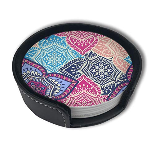 Ethnic Floral 6-Pack Coaster For Drinks Set With Holder Absorbent Leather Coasters Round Cup Mat Pad For Home And Kitchen