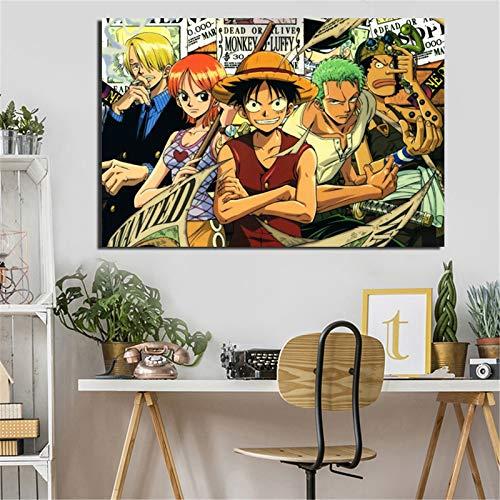 KWzEQ Anime Cartoon Tela Pittura a Olio Pittura Stampa Soggiorno Decorazione della casa Moderna Arte della Parete Pittura a Olio Poster,Pittura Senza Cornice,50x75cm