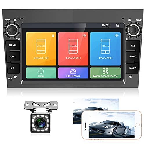 Autoradio mit Navi für Opel,7 Zoll Headunit Android Autoradio Bluetooth Multimedia Player für Astra Antara Vectra Corsa Zafira Meriva Vivara Vivaro Combo Signum Tigra Twin Top Eisengrau