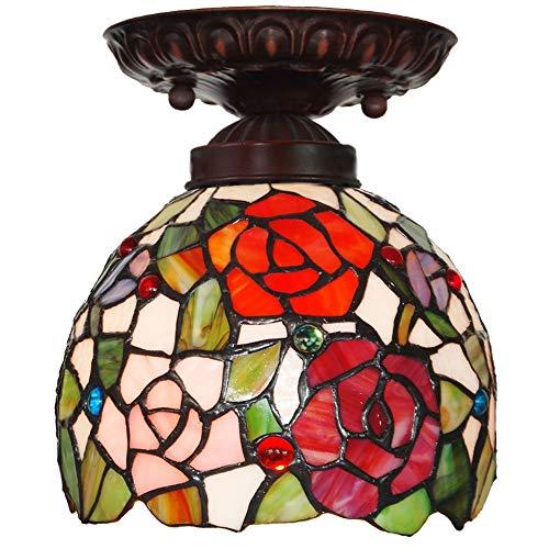 Tiffany estilo retro lámpara colgante 7'Tifany Europeo Rose Shade Light Light Balcony Light Corridor Light Dome Island Boho