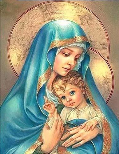 Virgen María Cristo,5D Diy Diamante Pintura Religiosa Iconos Imágenes Diy 3D Diamante Bordado Imágenes Jesús Mosaico Diamante,40x55cm