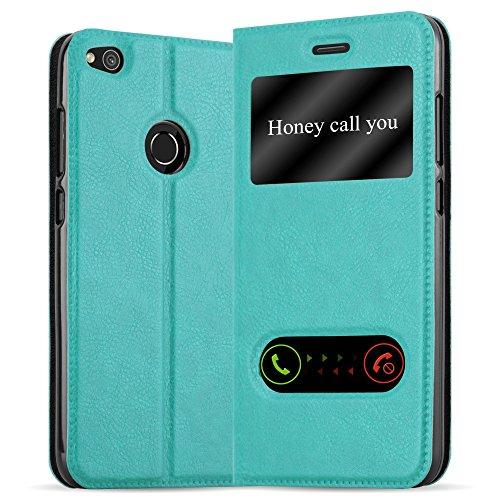 Cadorabo Funda Libro para Huawei P8 Lite 2017 en Turquesa Menta - Cubierta Proteccíon con Cierre Magnético, Función de Suporte y 2 Ventanas- Etui Case Cover Carcasa