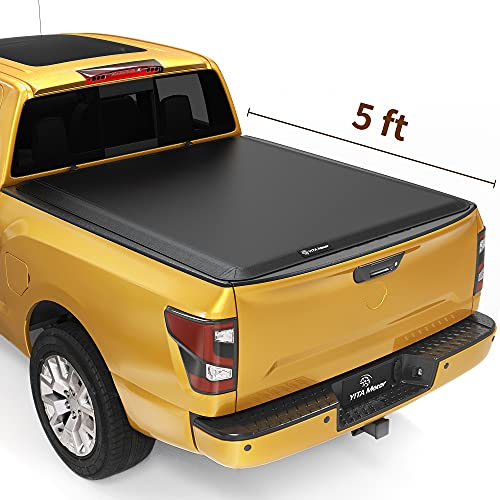 YITAMOTOR Soft Tri-Fold Truck Bed Tonneau Cover Compatible with 2006-2021 Nissan Frontier with Utility Track Rail, Fleetside 5 ft Bed