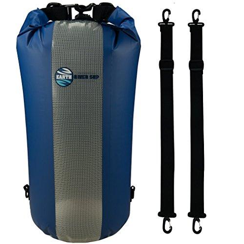 Earth River SUP Dry Bag - Secure Waterproof Bag Inc. Secure Clip Backpack Straps & Transparent Front Panel (30 Liter Blue)
