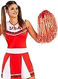 Funidelia | Pompón Rojo para Mujer ▶ Cheerleader, Fútbol Americano, Instituto, Profesiones - Color: Rojo, Accesorio para Disfraz - Divertidos Disfraces y complementos