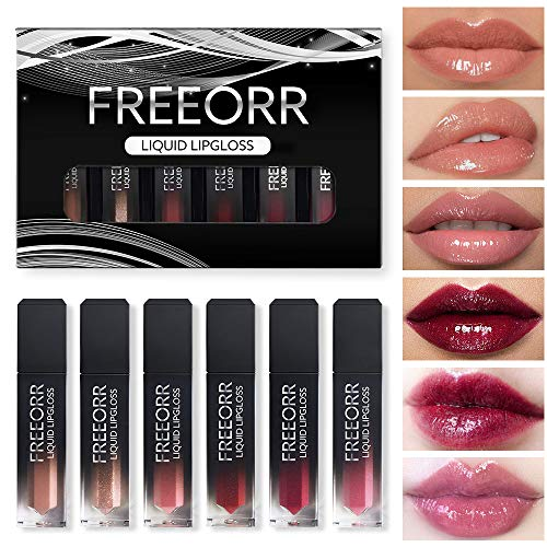 FREEORR 6 Colors Glossy Lipstick set, High Pigmented Liquid Lipstick Kit, Non-sticky with Shine, Shimmer, Glittery, Pearl ,Hydrated Sexy Fuller-Looking Lips for Sexy Beauty